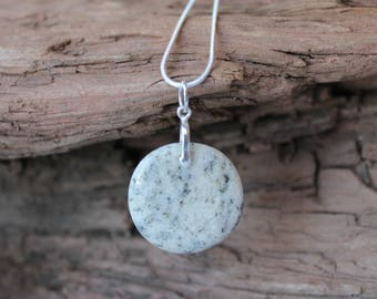 Lake Superior beach stone and sterling silver necklace, tumbled rock pendant, Valentines, birthday, anniversary, Mothers Day