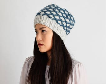 Baby Alpaca Hat for Women, Chunky Knit Hat, Gray & Teal Knit Toque