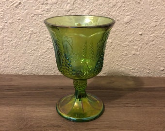 Green Carnival Glass Wine Glass Cup