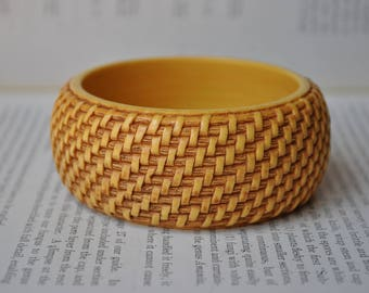 Vintage Chunky Yellow Bangle - 1970s Funky Thatched Straw Yellow Bangle