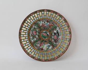 """Antique Chinese Export Reticulated Floral Border Rose Medallion Porcelain Plate 7-1/4"""""""