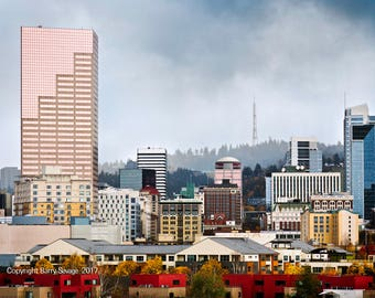 Skyline downtown cityscape Portland Oregon