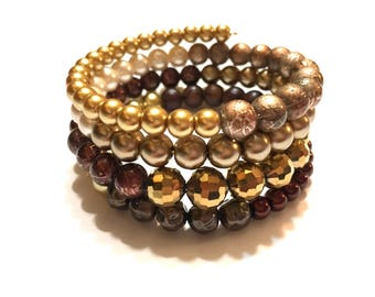 Wire Wrap Bracelet. Brown and Gold.