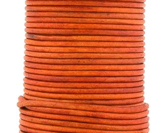 Xsotica® Orange Natural Dye  Round Leather Cord 1mm 25 meters (27.34 yards)