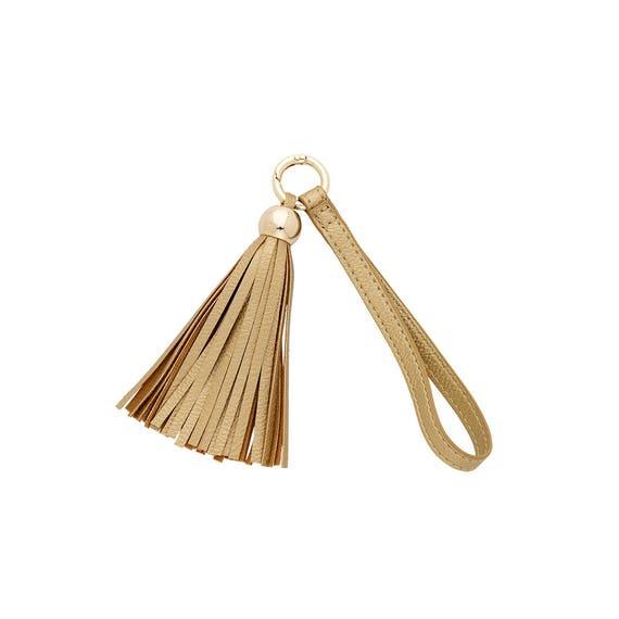 gold tassel keychain vegan leather keychain accessory boho keychain