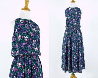 Vintage 1990s Dress   90s Floral Iris Print Dress   Purple and Green   M L