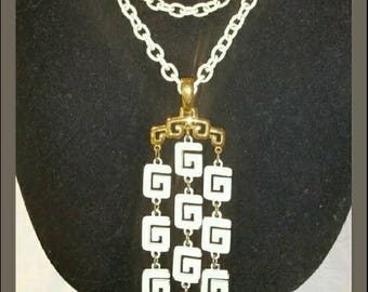 Trifari White Pendant Necklace