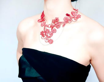dark coral red lace necklace //statement  necklace // silver chain beaded // floral vintage / gift for her