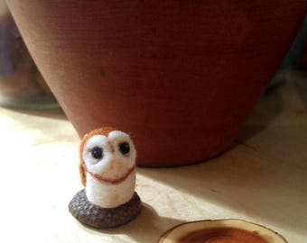 Tiny micro miniature needlefelted critter,  a wool barn owl