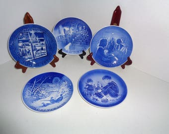 5 Vintage Copenhagen B & G Denmark and Desiree Blue Plates 1968, 1970, 1971, 1976, 1980