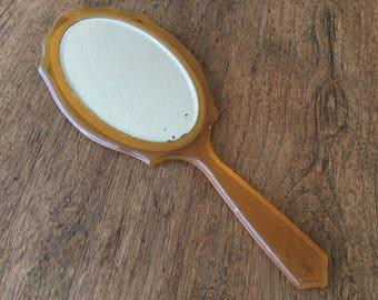 """Vintage beveled mirror, hand mirror, 11 X 4 1/2"""""""