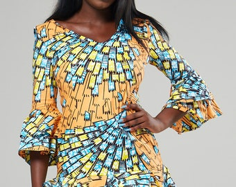 ALEXINA dress African dress, African clothing Ankara dress, print dress, gathered dress, african print dress, summer dress, african dress