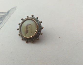 French antique solid bronze flower photo holder brooch antique bronze enamel miniature photo holder antique picture photo