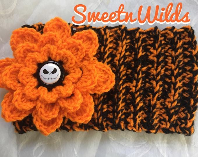Halloween Skellington Headband-Chunky Earwarmer- Crocheted Orange Flower -Black and Orange headwarmer-Winter hats-Fall Hats-Gothic