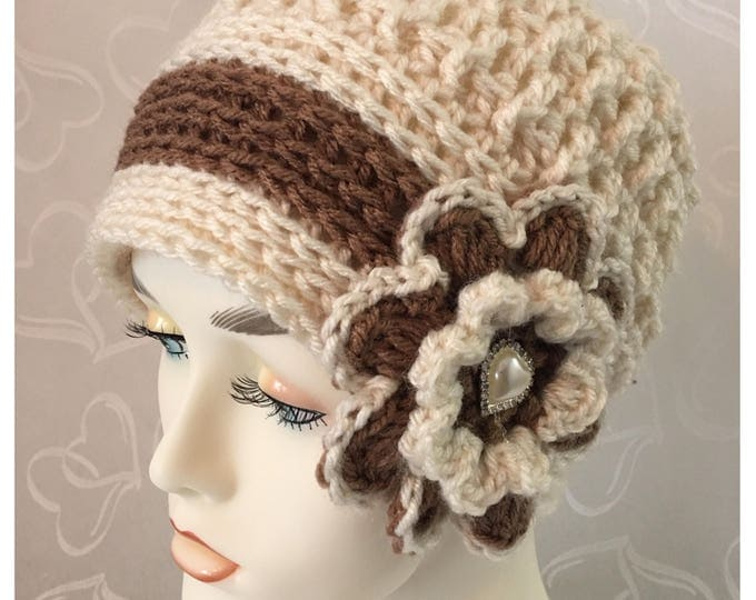 Newsboy Cap-Crocheted Women's Hat-Cloche Hat-Flower Cap-Hearts and diamonds -Cream and Brown-Fall accessories -Winter Hat-