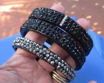 Lot Of Retro Black Plastic Acrylic Cabochon Rhinestone Bracelets Missing Cabochons TLC