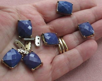 Lot Of Salvaged Blue Acrylic Metal Bracelet Components