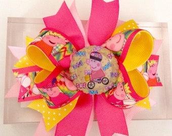 Peppa Pig Hair Bow, Birthday Bow, Peppa Pig Boutique Hair Bow.