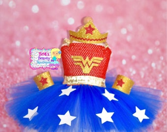 Inspired by Wonder Women Inspired Tutu Dress/Costume/Halloween/Pageant Wear/Crown/Infant/Toddler/Girl