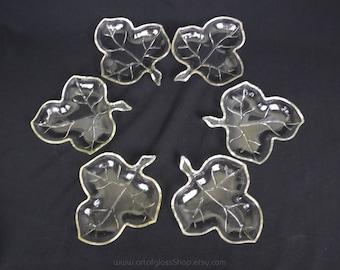 Set of 6 Hazel Atlas 'Leaf' shaped glass dishes