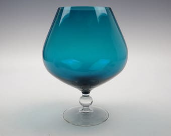 Blue glass brandy balloon/vase