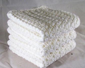 White Washcloth, White Dish Towels, White Crochet Spa Set, White Crochet Washcloth, White Washcloth Spa Set, White Dishcloth