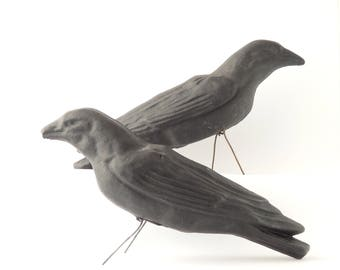 """Vintage Halloween Crow Decoys Set of Two Black Halloween Decor Paper Mache 16"""" Long Scary Black Bird Fall Decorations Crows FREE SHIPPING"""