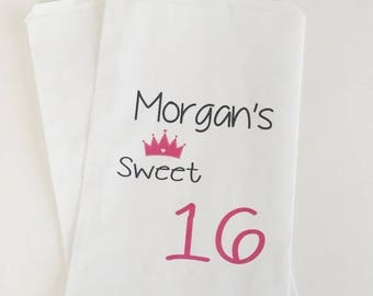 ON SALE Candy Buffet Bags, Sweet 16 Party Favors, Birthday Candy Bags