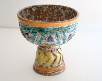 Florentine Original Pottery Compote, Mid Century Home Decor, Ceramic Pedestal Dish, Geometric Chevron, Made in Italy Vintage Italian Pottery