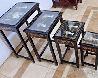 Vintage Oriental Mother Of Pearl 4 Asian Nesting Tables Black Lacquer Glass tops Insured safe Nation Wide Shipping Available