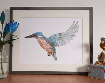 Kingfisher Bird Art watercolour Print- Kingfisher Art - Watercolour Print- Bird Wall Art- Bird Print- Kingfisher Art