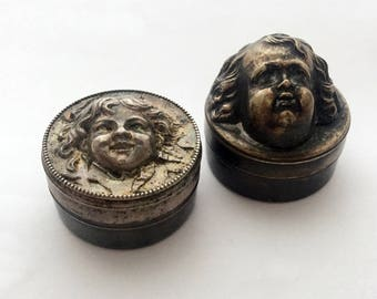 2 x Antique French Trinket Box Petite Jewelry Box Jewelry Storage Ring Bearer Box Ring Holder