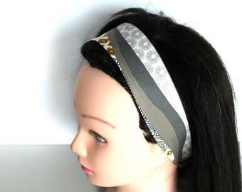 Women's headband yellow and gray