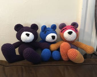 Crochet amigurumi plush stuffed teddy bear- you choose color