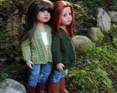 Kelby PDF knitting pattern for slim all vinyl Gotz dolls ~ an open front cardigan with two optional lengths by Debonair Designs