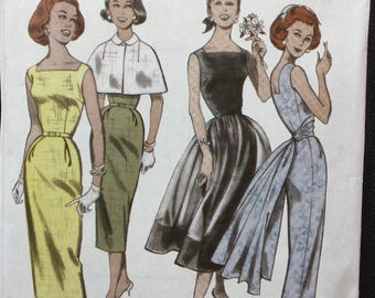UNCUT Butterick Pattern B5033 - Retro 1952 Women's Dress and Capelet Pattern for Sizes 6, 8, 10, 12,  - Easy Pattern