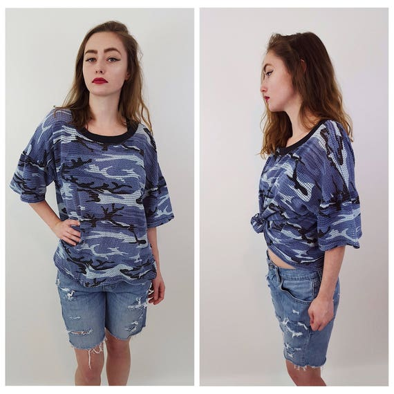 90's Blue Camo Tshirt 2X - 1990s Camouflage Grunge Plus Size Top - Classic Basic Light Blue Dark Blue Tee Shirt - Womens Sheer Mesh Fashion