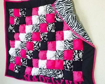 Pink/Zebra Puff Quilt
