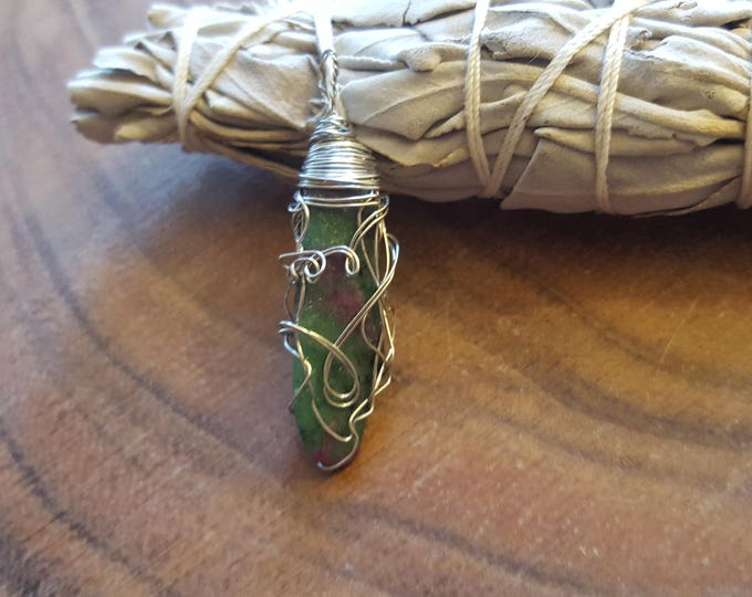 Ruby in Fuchsite silver plated wire wrapped pendant, Reiki infused approx 1.9x.5 inches (WW26)