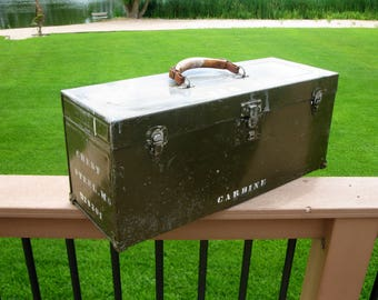 Rare Metal  Army Ammunition Box-  Carbine Chest- Leather Handle- Shell Box-  Military Box-  Storage- Army- WW II Collectible -  Man Cave