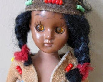 """Vintage INDIAN Doll -souvenir doll -small Indian doll -Indian brave -6"""" tall -50s/60s - with beaded leather / suede clothing -sleep eyes"""