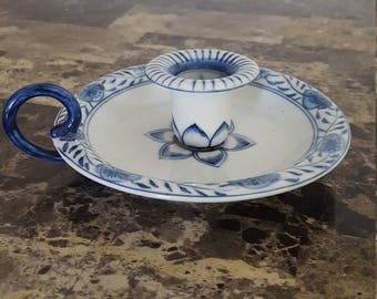 Vintage Candle Holder Blue and White