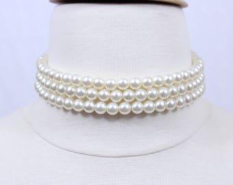 8mm 3 row Pearl Choker, Three Strand Pearl Choker, Chunky Pearl Choker, Bridal Pearl Choker Necklace, Brides Maids Jewelry, 8mm Pearl Choker