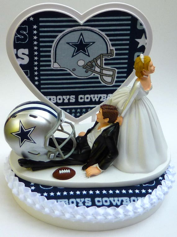 Wedding Cake Topper Dallas Cowboys Football Themed W Garter