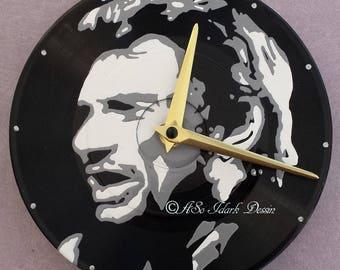 Small custom Johnny Halliday wall clock on vinyl (17cm diameter)