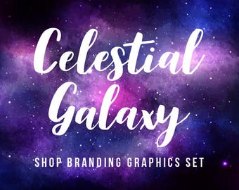 Galaxy Nebula Shop Branding Banners, Avatar Icons, Business Card, Logo Label + More - 13 Premade Graphics Files - CELESTIAL GALAXY