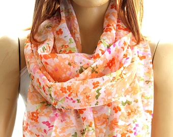 salmon floral scarf - salmon scarf -  Women Scarf - Accessories - Woman Accessories - Summer Scarves - Gift ideas - floral shawl - salmon