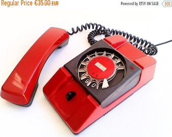 ON SALE Original Rotary Telephone, Vintage Red Phone, Bratek, Made in Poland