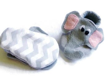 Elephant Shoes Gray Chevron Slippers Cotton Baby Booties Lined Children's Shoes Baby Shower Baby Gift Newborn Soft Sole Baby Shoes Crib shoe