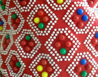 Vintage 60s multi colored CANDY DOT Plastic Bead Shoulder Bag Purse with zipper